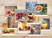 Images with a variety of different spices and spice grinder. collage — Stock Photo