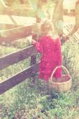 Cute girl walking in field with basket and warm sunset light.abstract and dreamy concept. image is textured and retro toned — Stock Photo