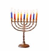 Jewish holiday Hanukkah background with menorah Burning candles isolated on white — Stock Photo