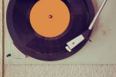 Top view of old record player, image is retro filtered — Stockfoto