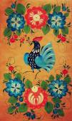 Традиционная российская декоративная деревянная доска. живопись с цветочным и павлиньим украшением — Стоковое фото