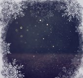 Glitter vintage lights background. light blue and black. with snowflake overlay . abstract background — Stock Photo