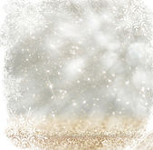 Silver and white bokeh defocused lights with snowflake overlay . abstract background — Stock Photo