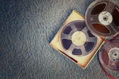 Top view of old sound recording tape, reel to reel type and box. — Stock Photo