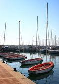 Romantic marina with yachts — Stock Photo