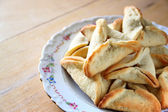 Hamantaschen cookies or hamans ears for Purim celebration (jewish holiday) — Stock Photo