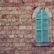 Old house's wall from jerusalem stone and old blue iron shutters — Stock Photo #61956331