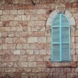 Old house's wall from jerusalem stone and old blue iron shutters — Stock Photo #61956335