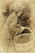 Cute little girl playing in the garden. filtered image, old style photo — Zdjęcie stockowe