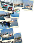 Collage with yachts, boats, lighthouse and a coast. Nautical concept. isolated on white — Stock Photo