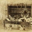 A collection of vintage jewelry in antique wooden jewelry box. retro filtered image. Old style photo. — Stock Photo #62748711