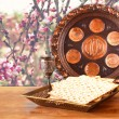 Passover background. wine and matzoh (jewish passover bread) on wooden table — Stock Photo #67852783