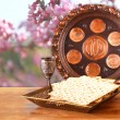 Passover background. wine and matzoh (jewish passover bread) on wooden table — Stock Photo #67852855