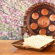 Passover background. wine and matzoh (jewish passover bread) on wooden table — Stock Photo #67852857