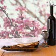 Passover background. wine and matzoh (jewish passover bread) on wooden table — Stock Photo #67868015