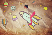 Photo of cute kid imagine spachip flight. image withe set of infographics over paper background — Stock Photo