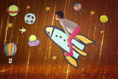 Photo of cute kid imagine spachip flight. image withe set of infographics over glittery background — Stock Photo