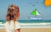 Back view of cute girl imagine boat, birds and sun with set of infographics over beach and sea background — Stock Photo