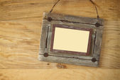 Top view of old nautical wooden frame on wooden table — Stock Photo