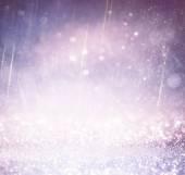 Glitter vintage lights background. light silver , gold, purple and black. defocused. — Stock Photo