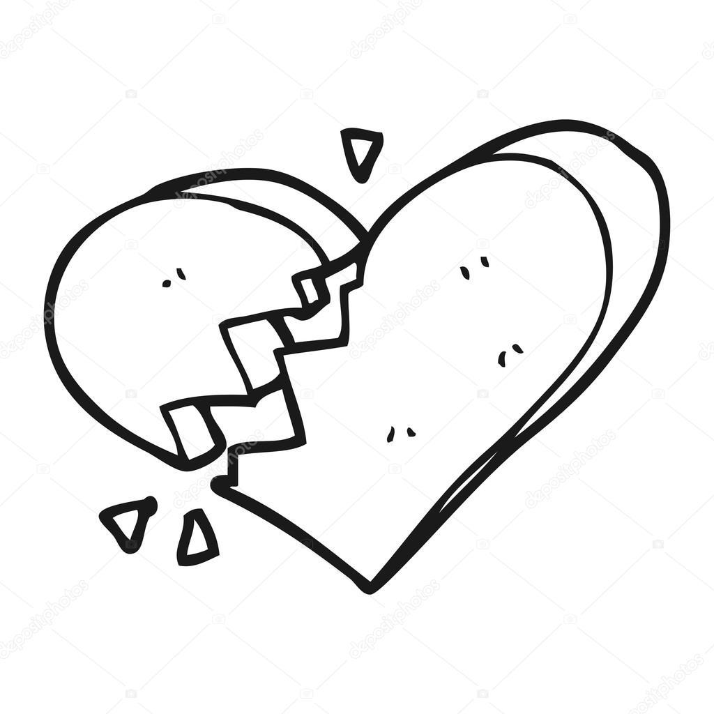Blanco y negro dibujos animados de corazón roto — Archivo ...