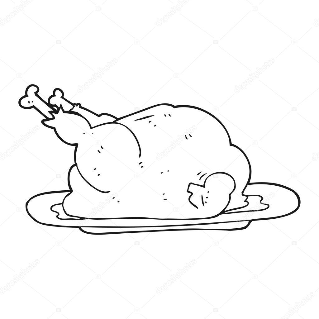 Chicken cartoon black and white