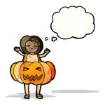 Girl in pumpkin costume cartoon — Stock Vector