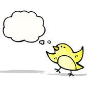 Kreslený pták s myšlenkou bublina — Stock vektor