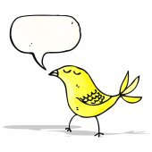Bird with speech bubble cartoon — Vector de stock