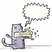 Chat de dessin animé avec la mauvaise haleine — Vecteur