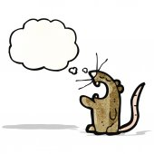 Cartoon rat with thought bubble — Stock Vector