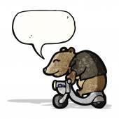 Cartoon bear on scooter — Stock Vector