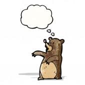 κινούμενα σχέδια αρκούδα με σκέψη φούσκα — Διανυσματικό Αρχείο