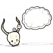 Spooky gehoornde schedel cartoon — Stockvector