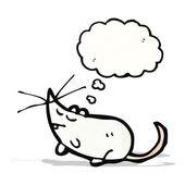 Biała kreskówka mysz z bańki myśli — Wektor stockowy