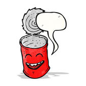Cartoon grinning food can — Stock Vector