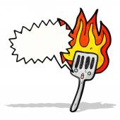 Flaming hot spatula cartoon — Stockvektor