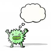 Little green monster cartoon — Stock Vector