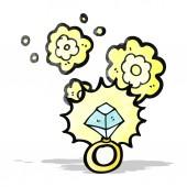 Huge diamond ring cartoon — Stock Vector