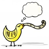 Singing bird with thought bubble — Vector de stock