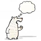 Polar bear with thought bubble cartoon — Stock Vector
