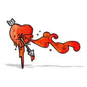 Arrow shot though heart cartoon — Stock Vector