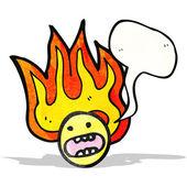 Cartone animato fiammeggiante volto emoticon — Vettoriale Stock