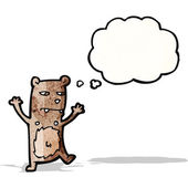 Crazy cartoon bear with thought bubble — Stock Vector