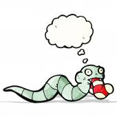 Cartoon snake with sock in mouth — Vector de stock