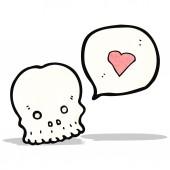 Cartoon skull with love heart — Vetorial Stock