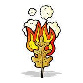 Cartoon flaming leaf — Stock Vector