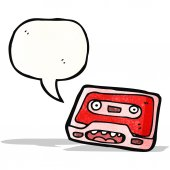Retro cassette tape cartoon character — Stock Vector
