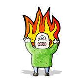 Flaming monster man cartoon — Stock Vector