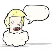 Talking head in cloud cartoon — Stock Vector